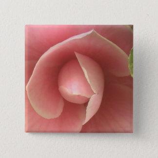 Pink Camellia Square Button