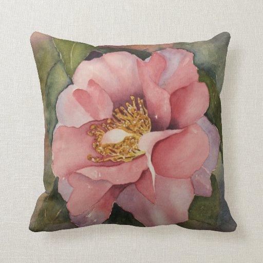 Pink Camellia watercolor Throw Pillow