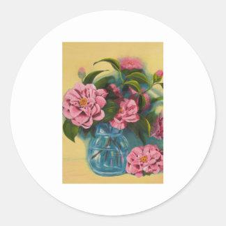 Pink Camellias Still Life Stickers