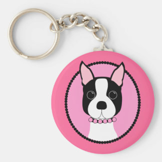 Pink Cameo Boston Terrier Basic Round Button Keychain