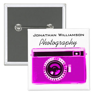 Pink Camera Photography Business 2 Inch Square Button