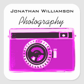 Pink Camera Photography Business Square Sticker