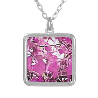 Pink Camo 3 Silver Plated Necklace
