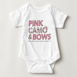 """""""Pink Camo and Bows..."""" Baby Bodysuit"""