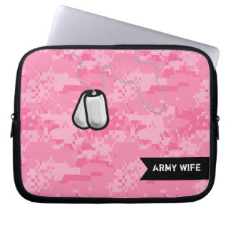 Pink Camo and Dog Tags laptop sleeve