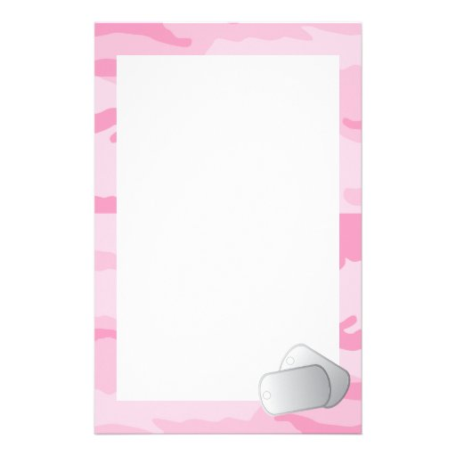Pink Camo and Dog Tags Stationery