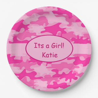 Pink Camo and Name Its A Girl Baby Shower 9 Inch Paper Plate