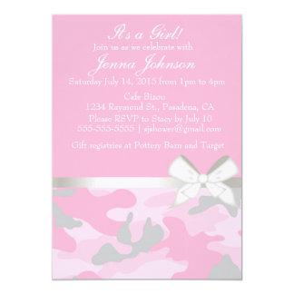 Pink Camo Baby Girl Shower Invitation