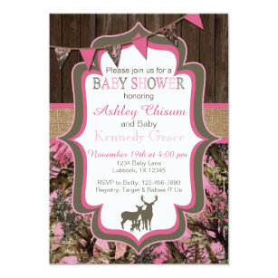Camo baby shower invitations announcements zazzle pink camo baby shower invitation filmwisefo