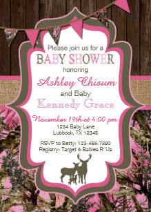 Camo Baby Shower Invitations Zazzle