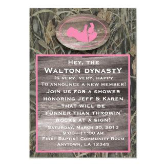 pink camo baby shower invitation