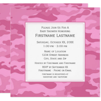Pink Camo Baby Shower or Party Card