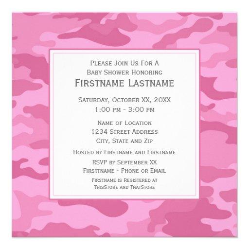 500 pink camo invitations pink camo announcements invites zazzle