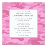 Pink Camo Baby Shower or Party Personalized Invitation