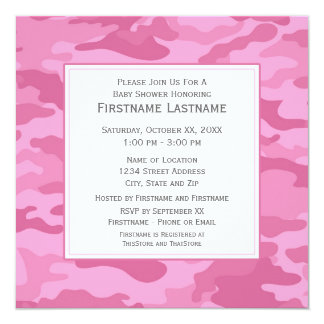 Pink Camo Baby Shower or Party 5.25x5.25 Square Paper Invitation Card