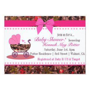 Pink Camo Baby Shower Party Invitation