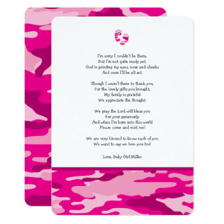 Pink Camo baby shower thank you note with poem Card