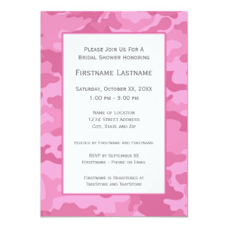 Pink Camo Bridal Shower or Engagement Party 5x7 Paper Invitation Card