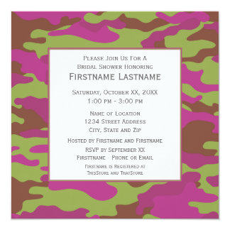 Pink Camo Bridal Shower or Engagement Party 5.25x5.25 Square Paper Invitation Card
