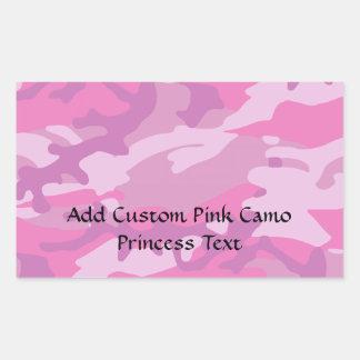Pink Camo Camoflauge Rectangular Sticker