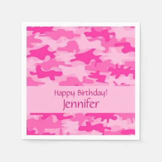 Pink Camo Camouflage Happy Birthday Party Standard Cocktail Napkin