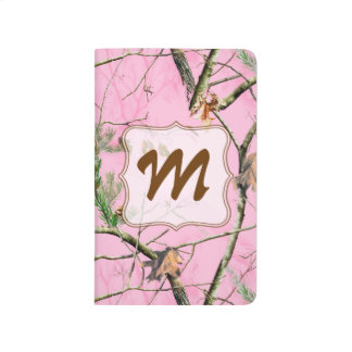 Pink Camo Camouflage Hunt Monogram Initial Journal