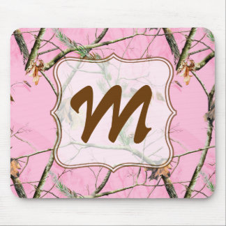 Pink Camo Camouflage Monogram Initial Mouse Pad Mousepad