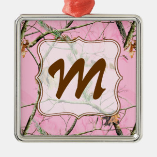 Pink Camo Camouflage Monogram Initial Ornament Christmas Tree Ornaments