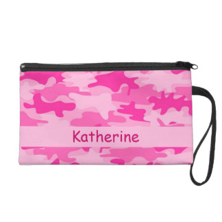 Pink Camo Camouflage Name Personalized Wristlet Purse