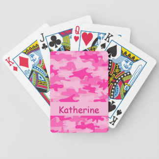 Pink Camo Camouflage Name Personalized Bicycle Playing Cards