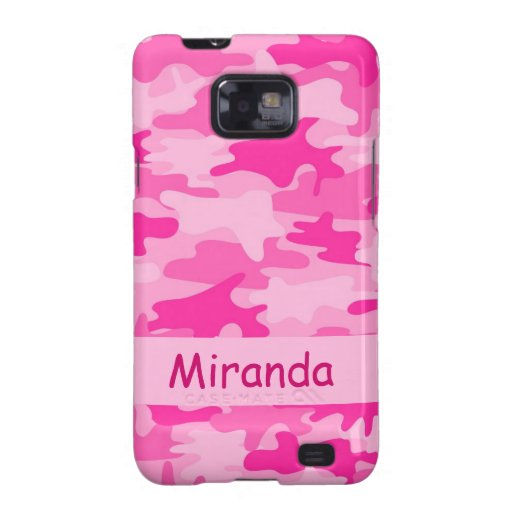 Pink Camo Camouflage Name Personalized Galaxy S2 Cover