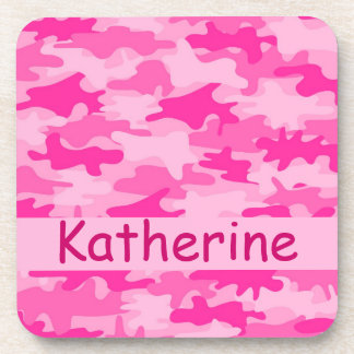 Pink Camo Camouflage Name Personalized Drink Coaster