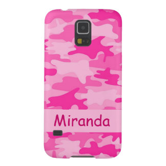 Pink Camo Camouflage Name Personalized Galaxy S5 Case