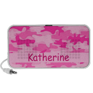 Pink Camo Camouflage Name Personalized iPod Speakers