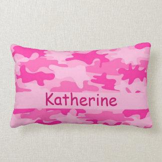Pink Camo Camouflage Name Personalized Lumbar Pillow