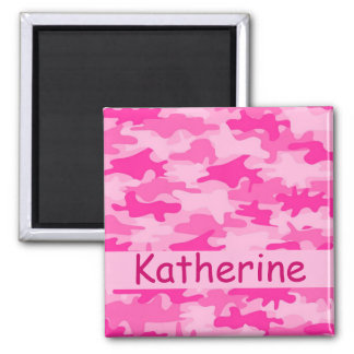 Pink Camo Camouflage Name Personalized Magnets