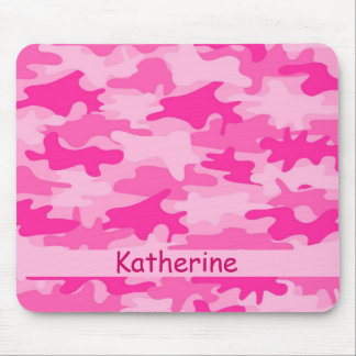 Pink Camo Camouflage Name Personalized Mouse Pad