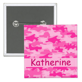 Pink Camo Camouflage Name Personalized Pinback Button
