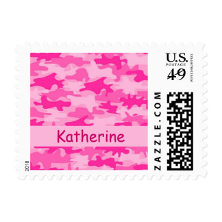 Pink Camo Camouflage Name Personalized Postage