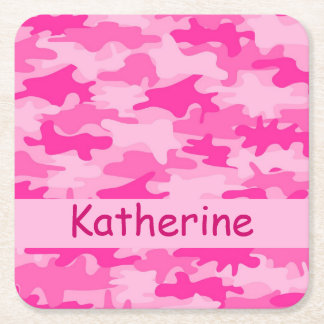 Pink Camo Camouflage Name Personalized Square Paper Coaster