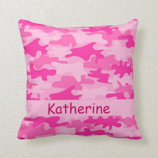 Pink Camo Camouflage Name Personalized Throw Pillow