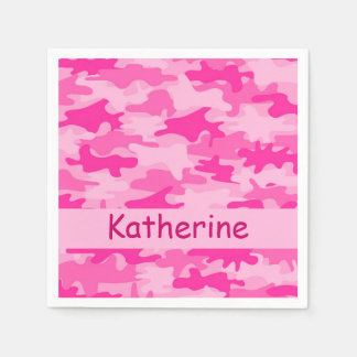 Pink Camo Camouflage Personalized Name Party Standard Cocktail Napkin
