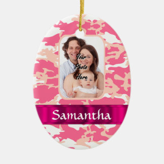Pink camo ceramic ornament