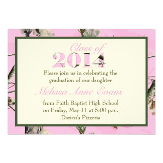 Pink Camo Class of 2014 Graduation Invitation