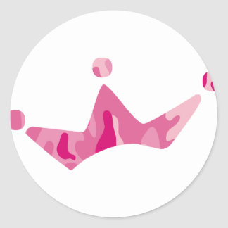 Pink Camo Crown Round Stickers
