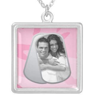 Pink Camo Customizable Photo Dog Tags Square Pendant Necklace