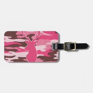 Pink camo deer head bag tag