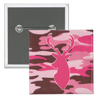 Pink camo deer head button