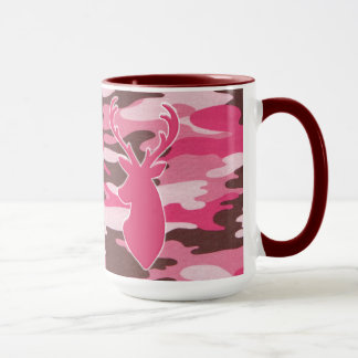Pink camo deer head mug