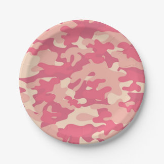 Pink Camo Design Paper Plate